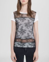 Sandro Shirt Tatianas Lace Sheer Panel - Lyst