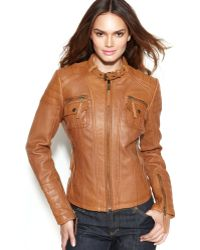 Michael Kors Michael Leather Buckle-Collar Motorcycle Jacket - Lyst