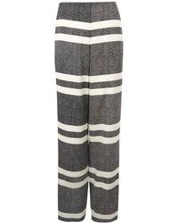 Edun Black Silk Wide Leg Striped Trousers - Lyst