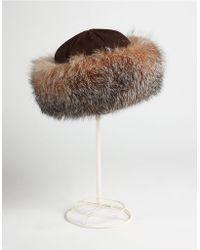 Surell Fox-Fur Trimmed Suede Hat - Lyst