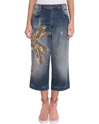 Laneus - Cotton Denim Jeans With Patch And Embroidery - Lyst