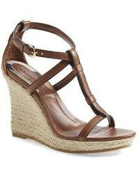 Burberry 'Wedland' Espadrille Wedge Sandal brown - Lyst