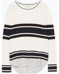 Zara Striped Poplin Sweater - Lyst