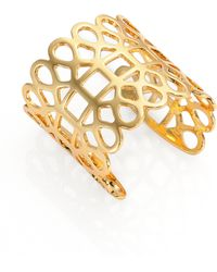 Tory Burch 16K Gold-Plated Lace Cuff - Lyst