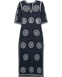 Tory Burch Shirley Broderie Anglaise Linen-Blend Maxi Dress - Lyst