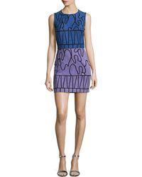Versace Sleeveless Suede Sheath Dress blue - Lyst