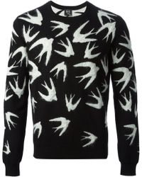 McQ by Alexander McQueen Swallow Intarsia Knit Sweater - Lyst