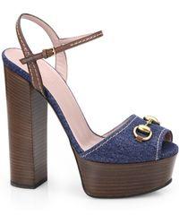 Gucci Claudie Denim Platform Sandals - Lyst