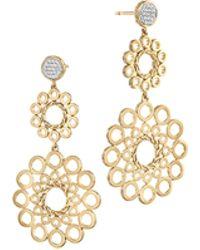 John Hardy Dot 18K Gold Double Drop Earrings - Lyst