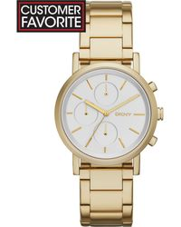 DKNY Women'S Chronograph Soho Gold Ion-Plated Stainless Steel Bracelet Watch 38Mm Ny2274 - Lyst