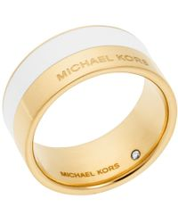 Michael Kors Gold-Tone And White-Accented Ring gold - Lyst