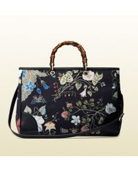 Gucci Bamboo Shopper Flora Knight Canvas Tote - Lyst