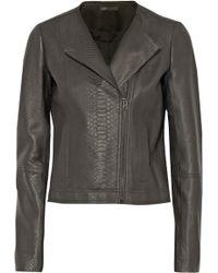 Vince Snake Effect Leather Biker Jacket - Lyst