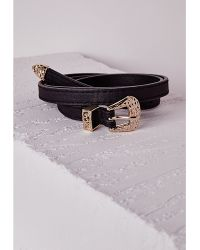 Missguided Western Buckle Detail Skinny Belt Black - Lyst