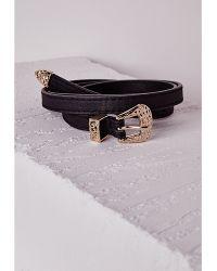 Missguided Western Buckle Detail Skinny Belt Black - Lyst