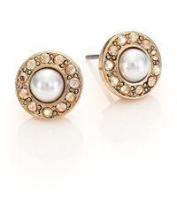 Oscar de la Renta | Crystal & Faux Pearl Stud Earrings | Lyst