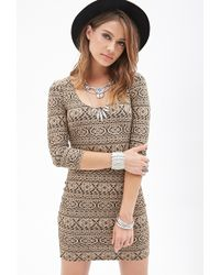 Forever 21 Abstract Pattern Bodycon Dress - Lyst