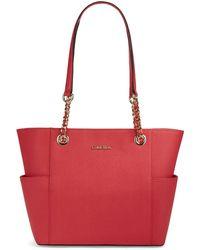 Calvin Klein Saffiano Leather Tote Bag - Lyst