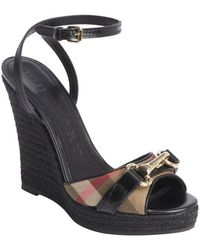 Burberry Black Leather Nova Check Canvas Buckle Detail Wedge Sandals - Lyst
