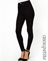 Asos Ridley High Waist Ultra Skinny Ankle Grazer Jeans in Clean Black - Lyst