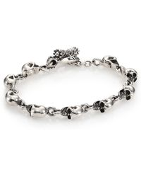 King Baby Studio   Sterling Silver Skull Link Bracelet   Lyst