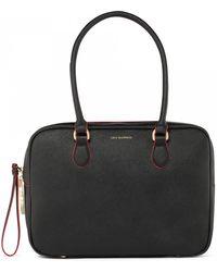 Lulu Guinness Black Crosshatched Leather Large Jenny - Lyst