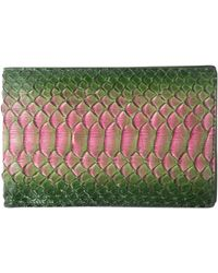 Raf Simons Leather Printed Bifold Wallet Greenpink - Lyst