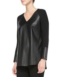Lafayette 148 New York Shae Silk Neotech-Front Blouse - Lyst