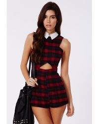 Missguided Ashlee Tartan Collared Cut Out Playsuit Red - Lyst