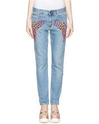 Stella McCartney Patchwork Appliqué Cloud Embroidery Slim Boyfriend Jeans - Lyst