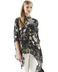 Gucci Floral Knight-print Silk Cape Shirt - Lyst