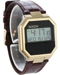 Nixon | Brown Re-run Croc Leather Watch | Lyst