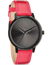 Nixon The Kensington Pink Patent Leather Strap Watch 37mm - Lyst
