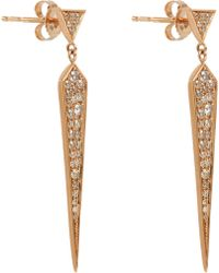 Finn Champagne Diamond Rose Gold Dagger Earrings - Lyst