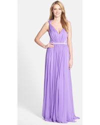 Vera Wang Gathered Chiffon Fit & Flare Gown purple - Lyst