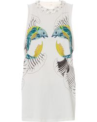 3.1 Phillip Lim Crystal Neck Fish Print Tank - Lyst