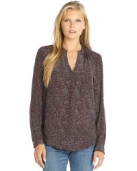Rebecca Taylor Aubergine Midway Gardens Printed Silk Long Sleeve Blouse - Lyst