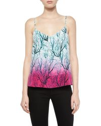 French Connection Sea Fern Ombre Silk Tank multicolor - Lyst