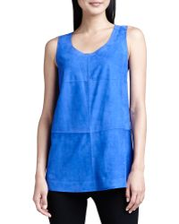 Lafayette 148 New York Sleeveless Bonded Suede Top - Lyst