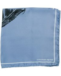 Alexander McQueen Silk Feather-print Pocket Square - Lyst