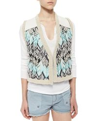 Zadig & Voltaire Sequined Feather-Pattern Vest - Lyst
