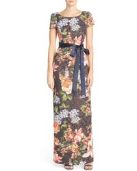 Adrianna Papell | Floral Matelasse Column Gown | Lyst