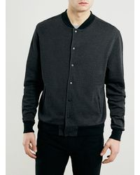 Topman Charcoal Dogtooth Jersey Bomber Jacket - Lyst
