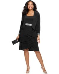 Alex Evenings Plus Size Beaded Tiered Dress And Jacket - Lyst