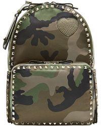 Valentino Cash & Rocket Camouflage Rockstud Backpack green - Lyst