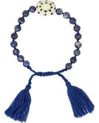 Iam By Ileana Makri - Kompoloi Enameled Silver, Lapis, Jade And Cotton Bracelet - Lyst