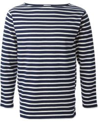 Saint Laurent Blue Striped Sweater - Lyst