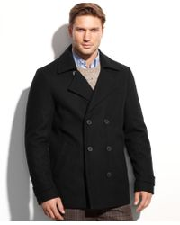 Calvin Klein Woolblend Double Breasted Pea Coat - Lyst