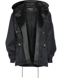 Balmain Hooded Wool Gabardine Jacket - Lyst