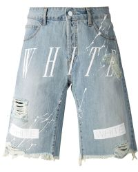 Off-White Striped Distressed Denim Shorts - Lyst
